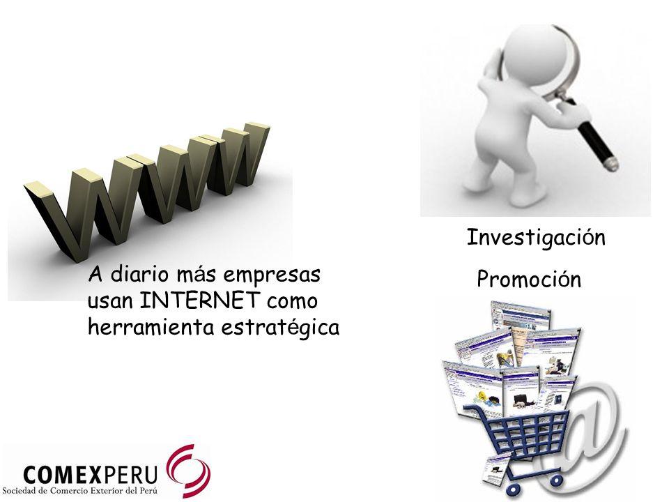 A diario m á s empresas usan INTERNET como herramienta estrat é gica Investigaci ó n Promoci ó n