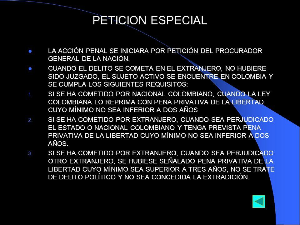 PETICION ESPECIAL LA ACCIÓN PENAL SE INICIARA POR PETICIÓN DEL PROCURADOR GENERAL DE LA NACIÓN. CUANDO EL DELITO SE COMETA EN EL EXTRANJERO, NO HUBIER