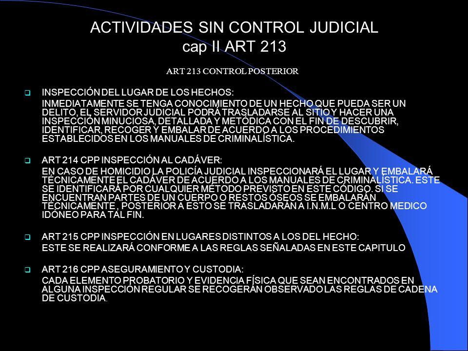 ACTIVIDADES SIN CONTROL JUDICIAL cap II ART 213 ART 213 CONTROL POSTERIOR INSPECCIÓN DEL LUGAR DE LOS HECHOS: INMEDIATAMENTE SE TENGA CONOCIMIENTO DE