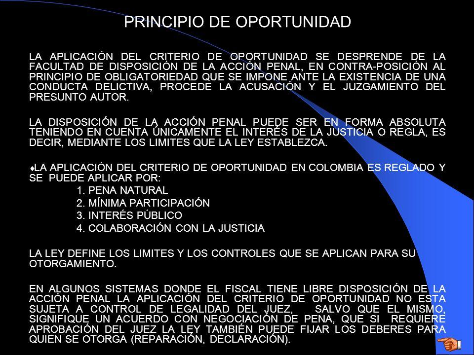 PRINCIPIO DE OPORTUNIDAD LA APLICACIÓN DEL CRITERIO DE OPORTUNIDAD SE DESPRENDE DE LA FACULTAD DE DISPOSICIÓN DE LA ACCIÓN PENAL, EN CONTRA-POSICIÓN A