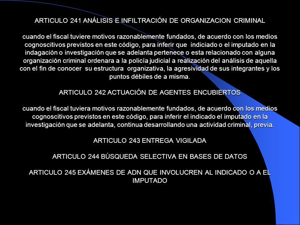 ARTICULO 241 ANÁLISIS E INFILTRACIÓN DE ORGANIZACION CRIMINAL cuando el fiscal tuviere motivos razonablemente fundados, de acuerdo con los medios cogn