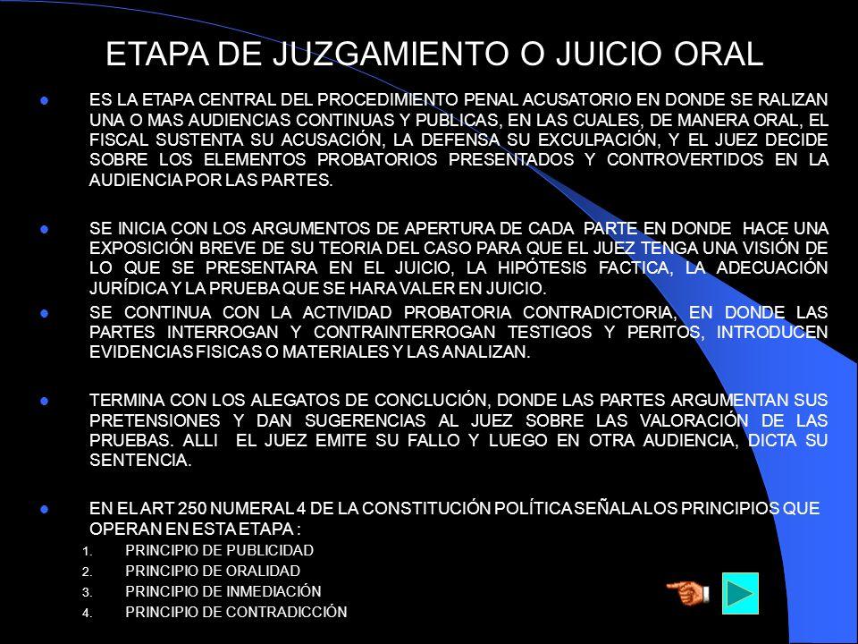 ETAPA DE JUZGAMIENTO O JUICIO ORAL ES LA ETAPA CENTRAL DEL PROCEDIMIENTO PENAL ACUSATORIO EN DONDE SE RALIZAN UNA O MAS AUDIENCIAS CONTINUAS Y PUBLICA