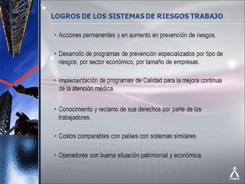 LOGROS DE LOS SISTEMAS DE RIESGOS TRABAJO Acciones permanentes y en aumento en prevención de riesgos. Desarrollo de programas de prevención especializ