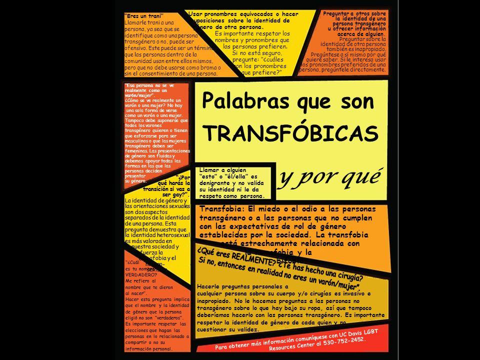 Eres un trani Llamarle trani a una persona, ya sea que se identifique como una persona transgénero o no, puede ser ofensivo.