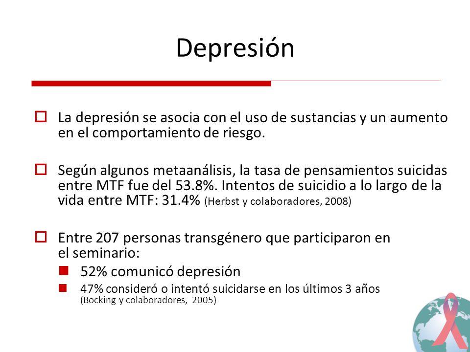 Depresión La depresión se asocia con el uso de sustancias y un aumento en el comportamiento de riesgo. Según algunos metaanálisis, la tasa de pensamie