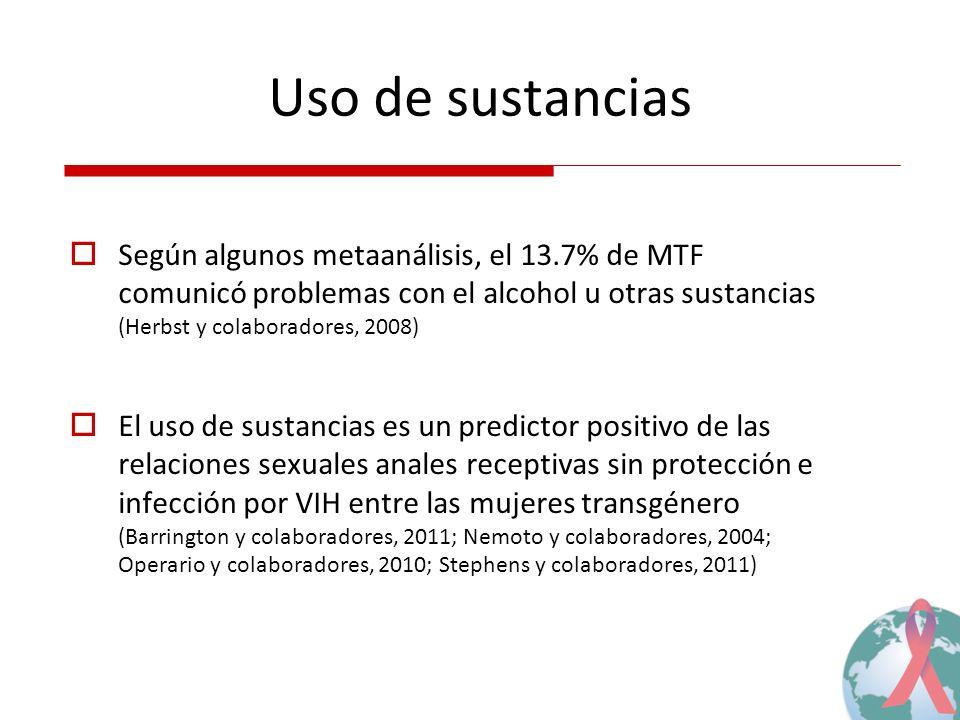 Uso de sustancias Según algunos metaanálisis, el 13.7% de MTF comunicó problemas con el alcohol u otras sustancias (Herbst y colaboradores, 2008) El u