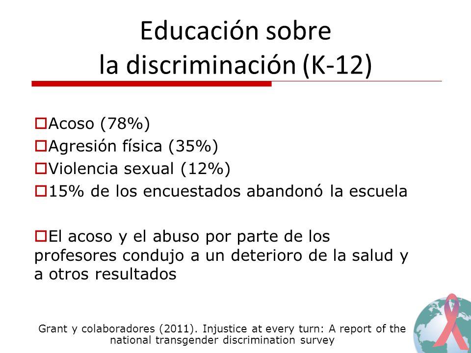 Educación sobre la discriminación (K-12) Acoso (78%) Agresión física (35%) Violencia sexual (12%) 15% de los encuestados abandonó la escuela El acoso y el abuso por parte de los profesores condujo a un deterioro de la salud y a otros resultados Grant y colaboradores (2011).