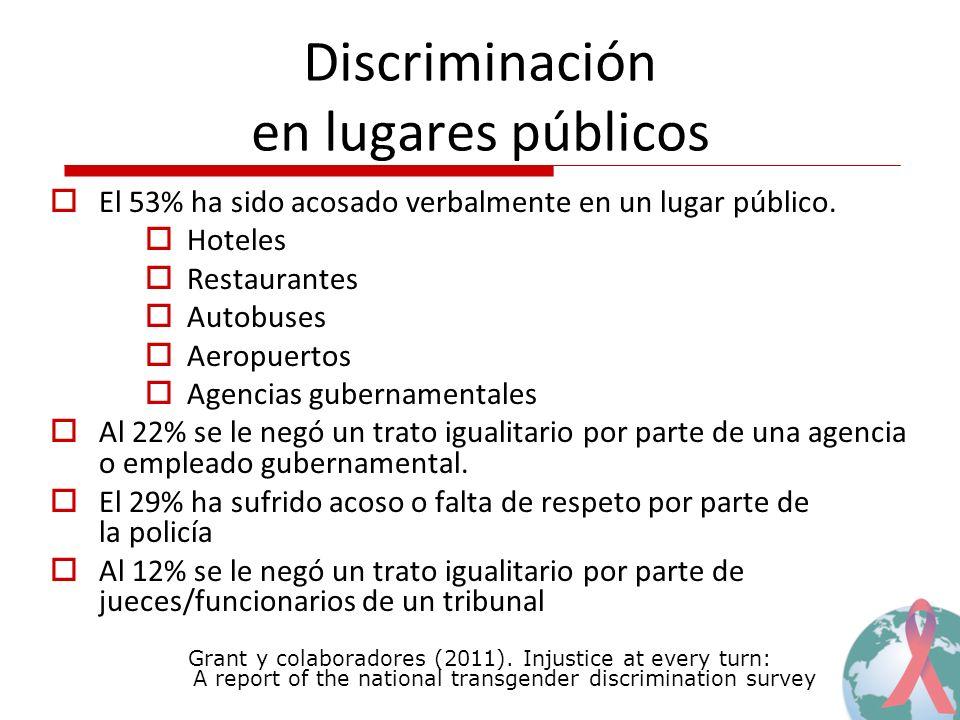 Discriminación en lugares públicos El 53% ha sido acosado verbalmente en un lugar público. Hoteles Restaurantes Autobuses Aeropuertos Agencias guberna