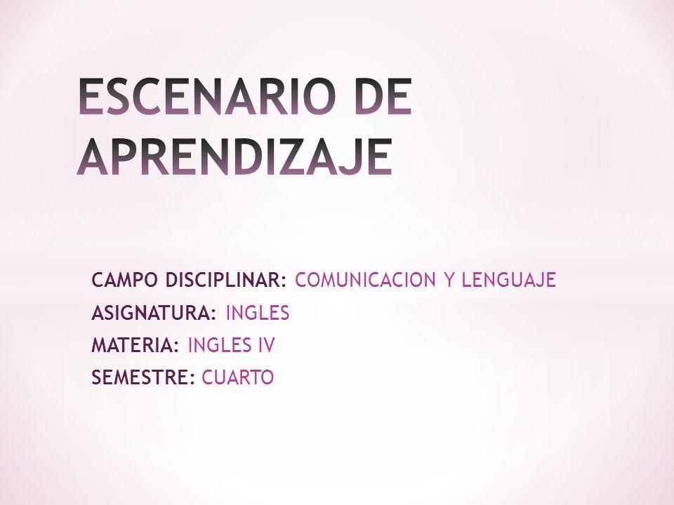 CAMPO DISCIPLINAR: COMUNICACION Y LENGUAJE ASIGNATURA: INGLES MATERIA: INGLES IV SEMESTRE: CUARTO