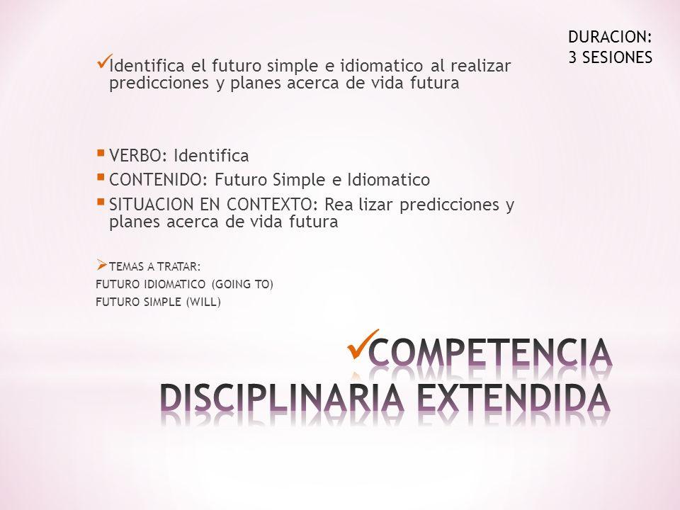 Identifica el futuro simple e idiomatico al realizar predicciones y planes acerca de vida futura VERBO: Identifica CONTENIDO: Futuro Simple e Idiomati