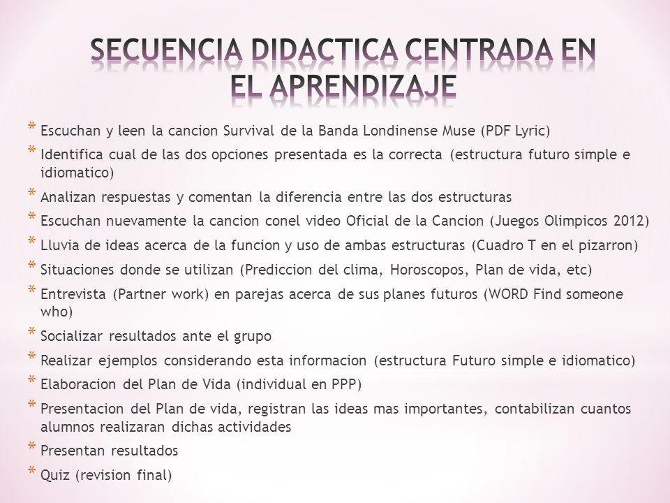 METODOLOGIA: Modelo Didactico Global (Induccion - Deduccion) EVALUACION: Quiz (Opcion Multiple), Reading – Listening, Plan de Vida (Rubrica) EVIDENCIAS FORMATIVAS A) EVIDENCIAS DE CONOCIMIENTO: - CONCEPTOS: Estructura gramatical Futuro simple e idiomatico * - HABILIDADES COGNITIVAS: Memorización, interpretación, comprensión, análisis, comparación, diferenciación.