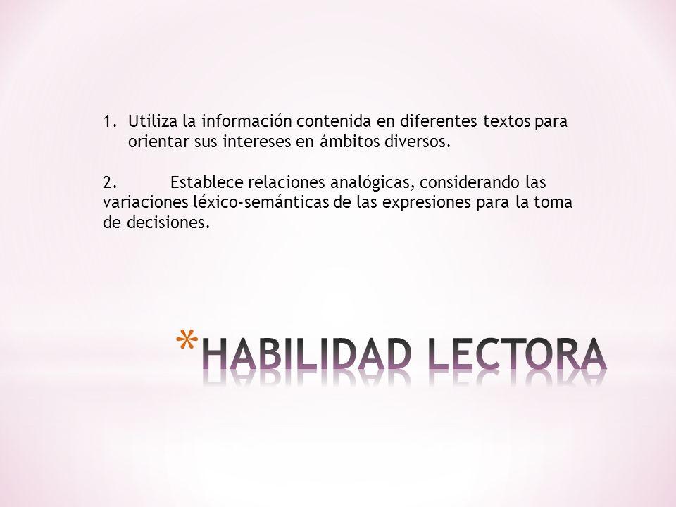 1.Utiliza la información contenida en diferentes textos para orientar sus intereses en ámbitos diversos. 2.Establece relaciones analógicas, consideran