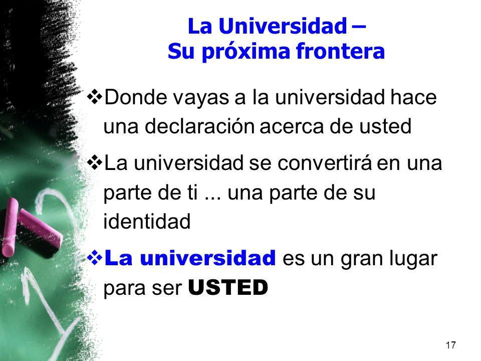 La Universidad – Su próxima frontera Donde vayas a la universidad hace una declaración acerca de usted La universidad se convertirá en una parte de ti