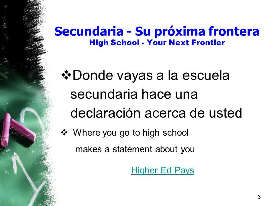 Secundaria - Su próxima frontera High School - Your Next Frontier Donde vayas a la escuela secundaria hace una declaración acerca de usted Where you go to high school makes a statement about you Higher Ed Pays 3