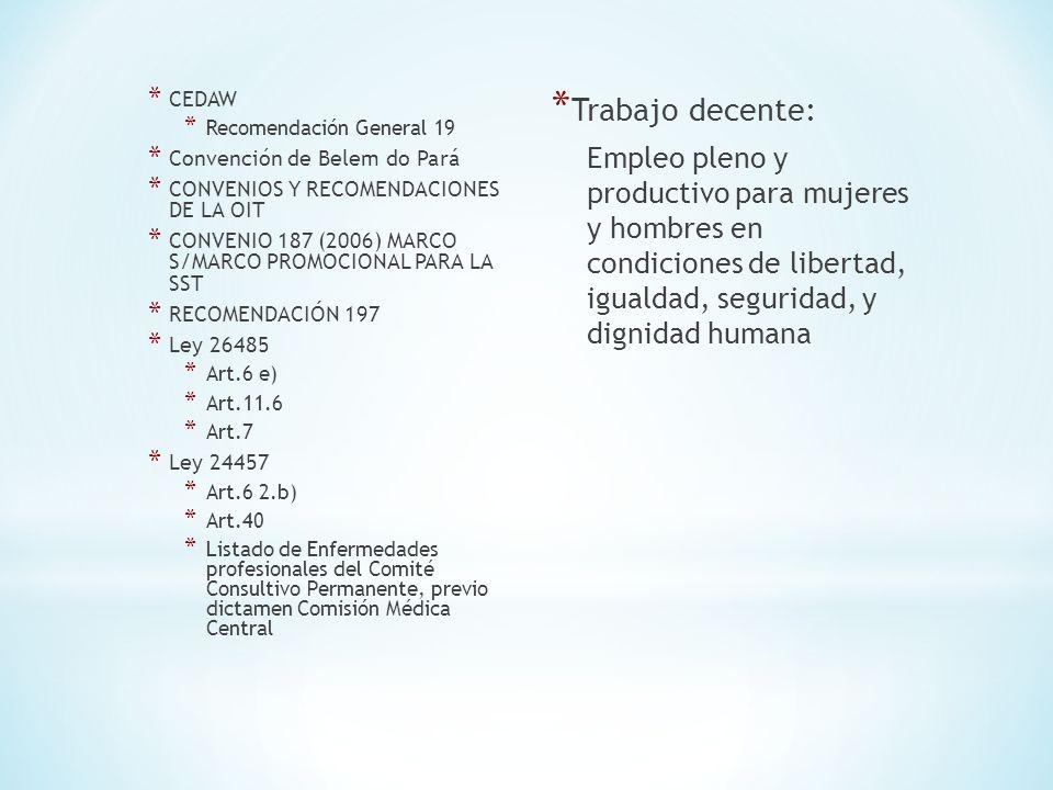 MEDIDAS PARA OFRECER LUGARES DE TRABAJO SEGUROS Y SALUDABLES A MUJERES Y HOMBRES * Ratificar y aplicar las normas de SST relativas a cada sector, las cuales fueron elaboradas por la Conferencia Internacional del Trabajo de la OIT, y que son aplicables a hombres y mujeres por igual.34 * Intensificar la implementacion del Convenio sobre el marco promocional para la seguridad y salud en el trabajo, 2006 (num.