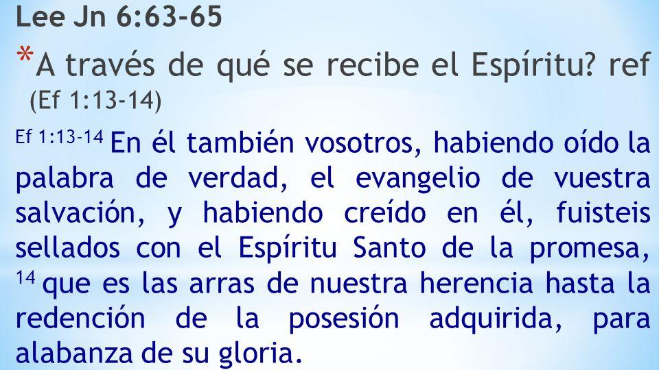 Lee Jn 6:63-65 * A través de qué se recibe el Espíritu.