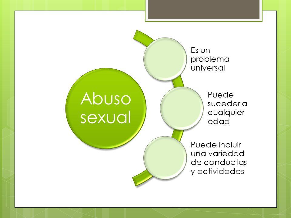 Abuso sexual Es un problema universal Puede suceder a cualquier edad Puede incluir una variedad de conductas y actividades