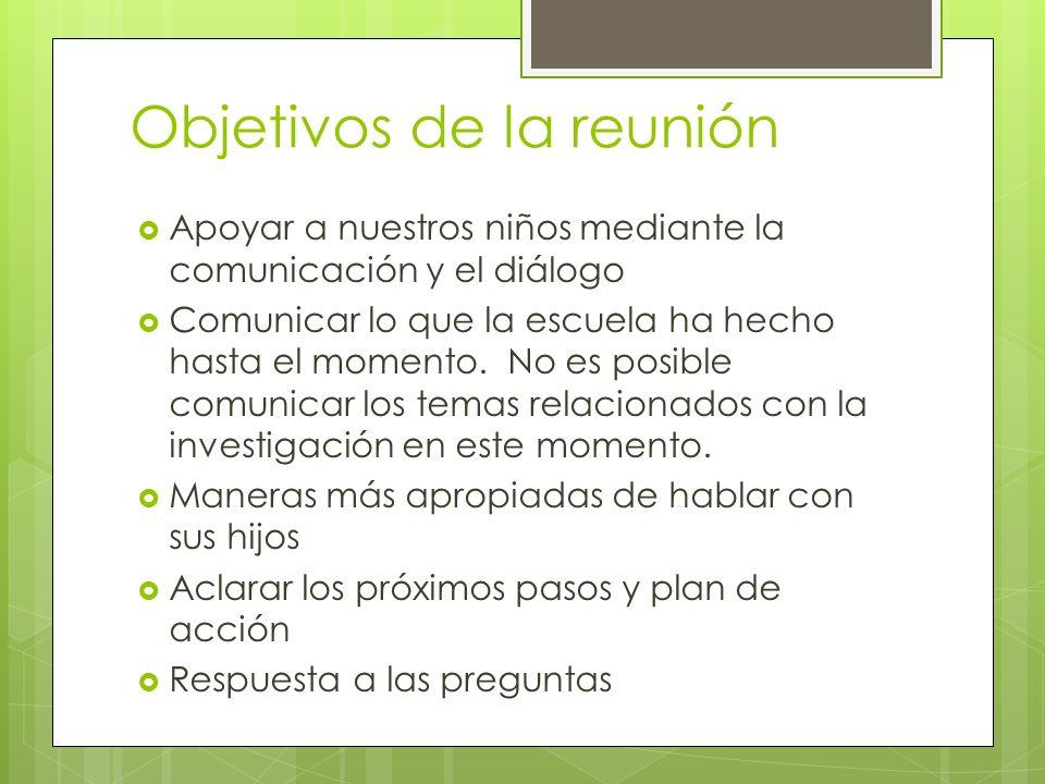 Objetivos de la reunión Apoyar a nuestros niños mediante la comunicación y el diálogo Comunicar lo que la escuela ha hecho hasta el momento.