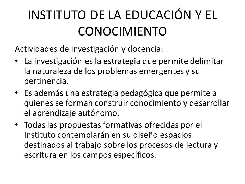 INSTITUTO DE LA EDUCACIÓN Y EL CONOCIMIENTO Actividades de investigación y docencia: La investigación es la estrategia que permite delimitar la naturaleza de los problemas emergentes y su pertinencia.
