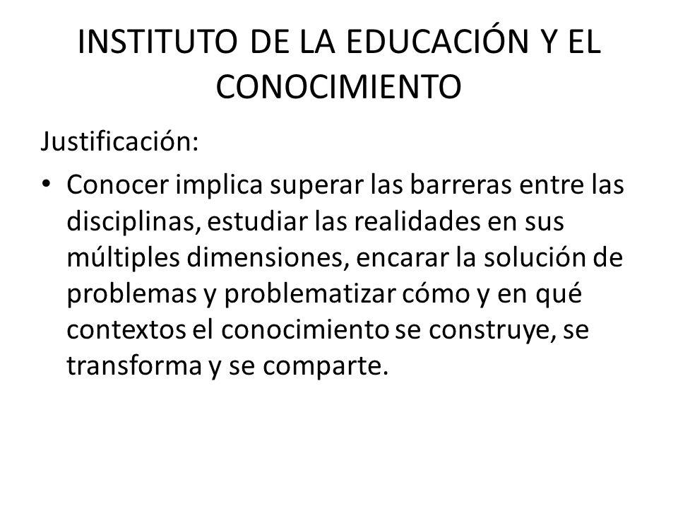 INSTITUTO DE LA EDUCACIÓN Y EL CONOCIMIENTO Justificación: Una desigual capacidad de procesar el conocimiento amplía las brechas de desigualdad.