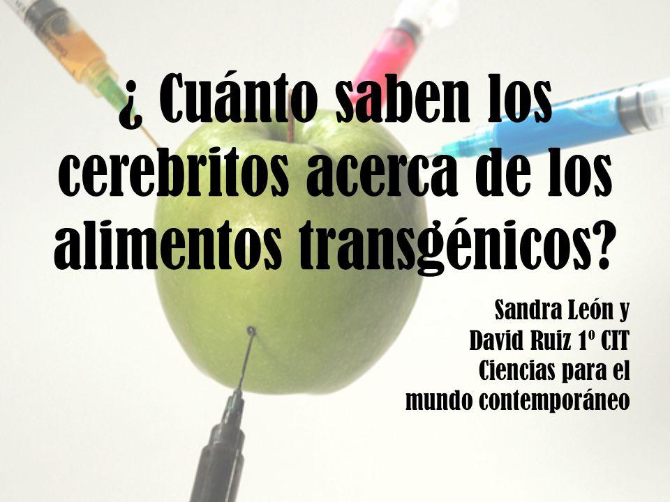 ¿ Cuánto saben los cerebritos acerca de los alimentos transgénicos? Sandra León y David Ruiz 1º CIT Ciencias para el mundo contemporáneo