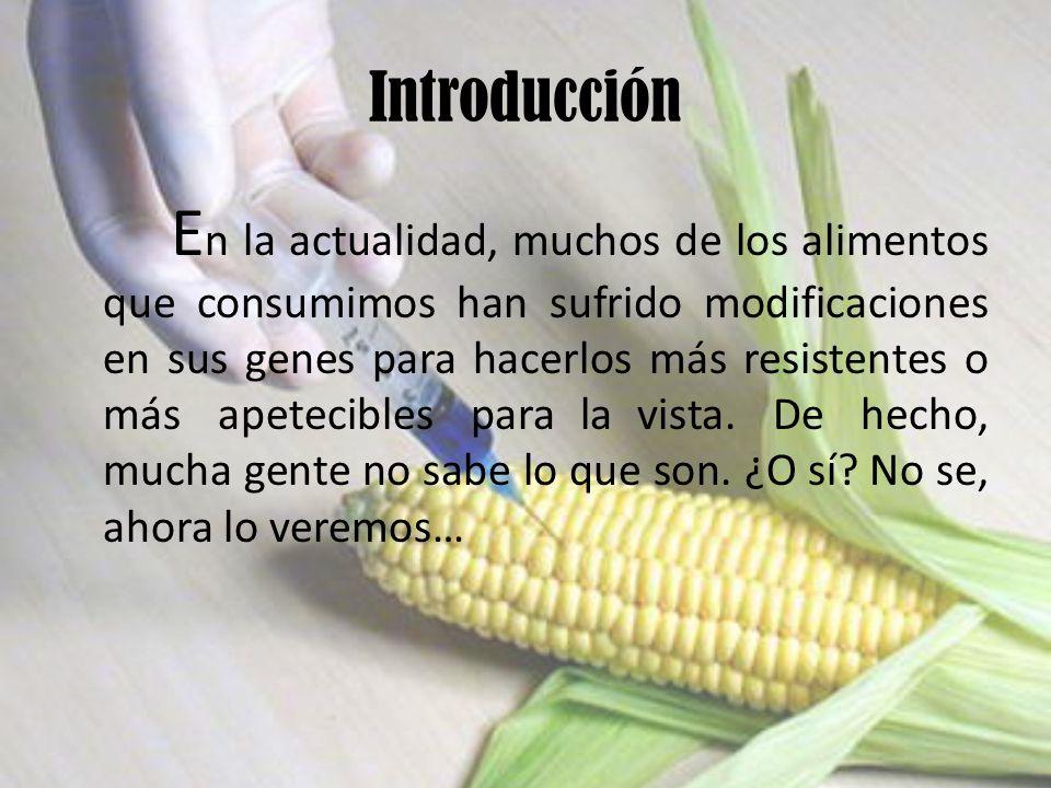 Introducción E n la actualidad, muchos de los alimentos que consumimos han sufrido modificaciones en sus genes para hacerlos más resistentes o más apetecibles para la vista.