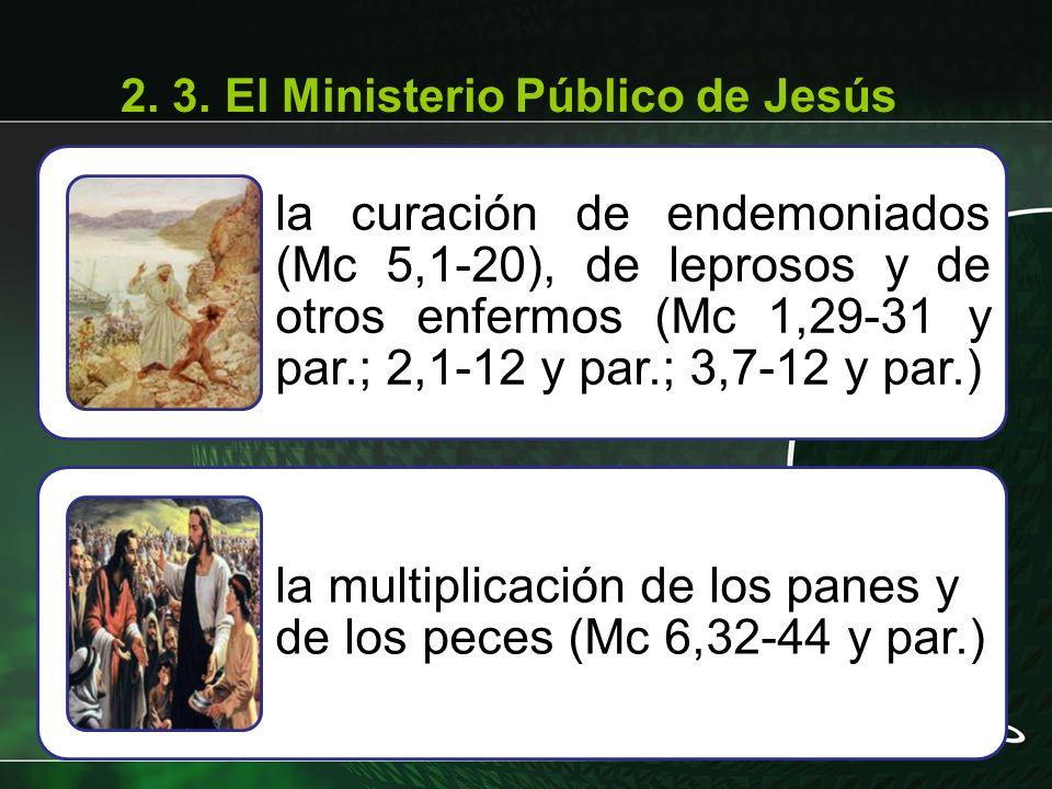 la curación de endemoniados (Mc 5,1-20), de leprosos y de otros enfermos (Mc 1,29-31 y par.; 2,1-12 y par.; 3,7-12 y par.) la multiplicación de los pa