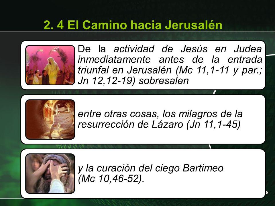 De la actividad de Jesús en Judea inmediatamente antes de la entrada triunfal en Jerusalén (Mc 11,1-11 y par.; Jn 12,12-19) sobresalen entre otras cos