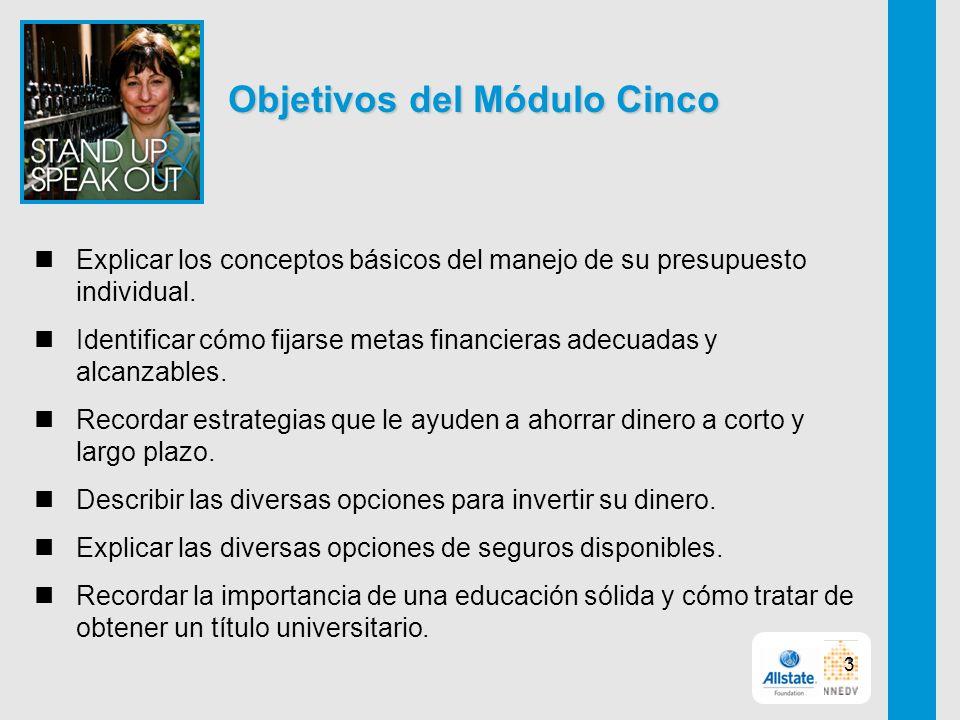 Objetivos del Módulo Cinco Explicar los conceptos básicos del manejo de su presupuesto individual.