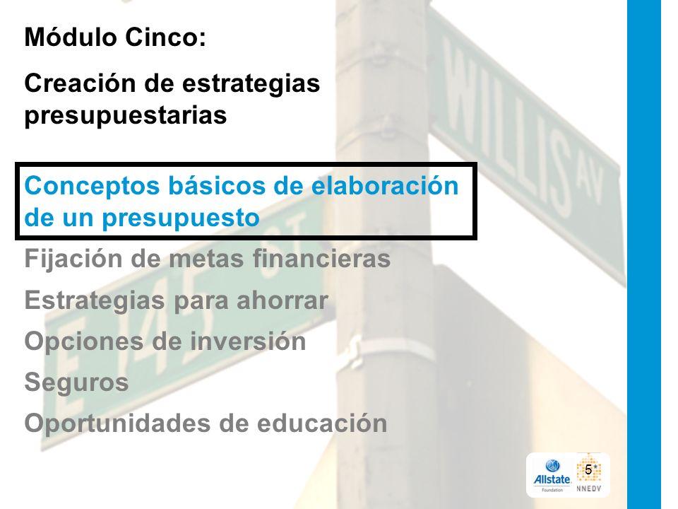 Módulo Cinco: Creación de estrategias presupuestarias Conceptos básicos de elaboración de un presupuesto Fijación de metas financieras Estrategias para ahorrar Opciones de inversión Seguros Oportunidades de educación 5