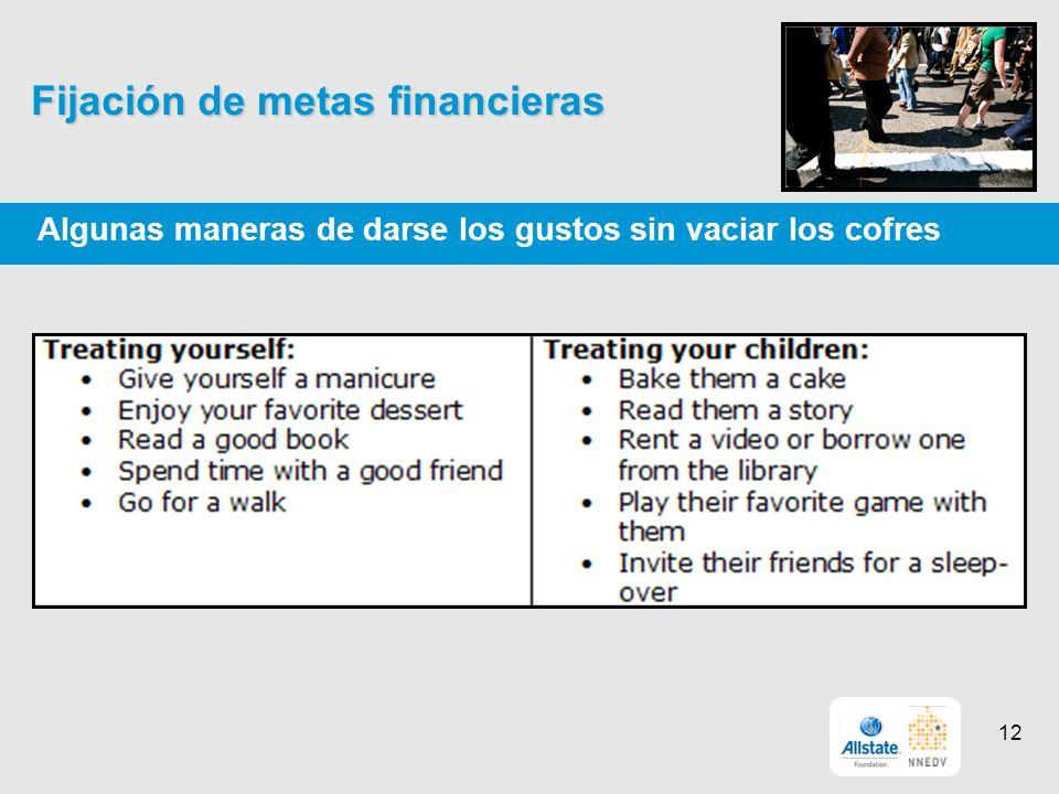 Fijación de metas financieras Algunas maneras de darse los gustos sin vaciar los cofres 12