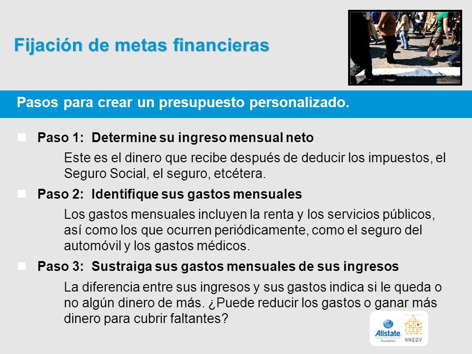 Fijación de metas financieras Pasos para crear un presupuesto personalizado.