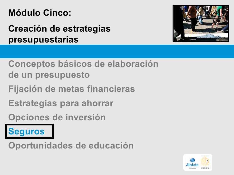 Módulo Cinco: Creación de estrategias presupuestarias Conceptos básicos de elaboración de un presupuesto Fijación de metas financieras Estrategias para ahorrar Opciones de inversión Seguros Oportunidades de educación
