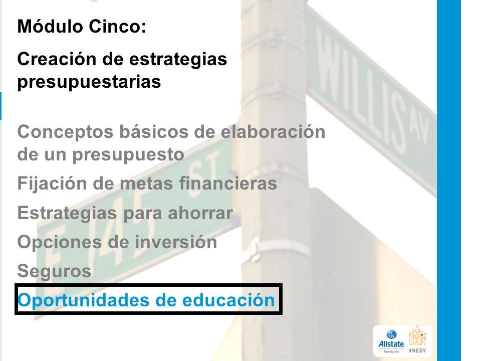 Módulo Cinco: Creación de estrategias presupuestarias Conceptos básicos de elaboración de un presupuesto Fijación de metas financieras Estrategias para ahorrar Opciones de inversión Seguros Oportunidades de educación 25