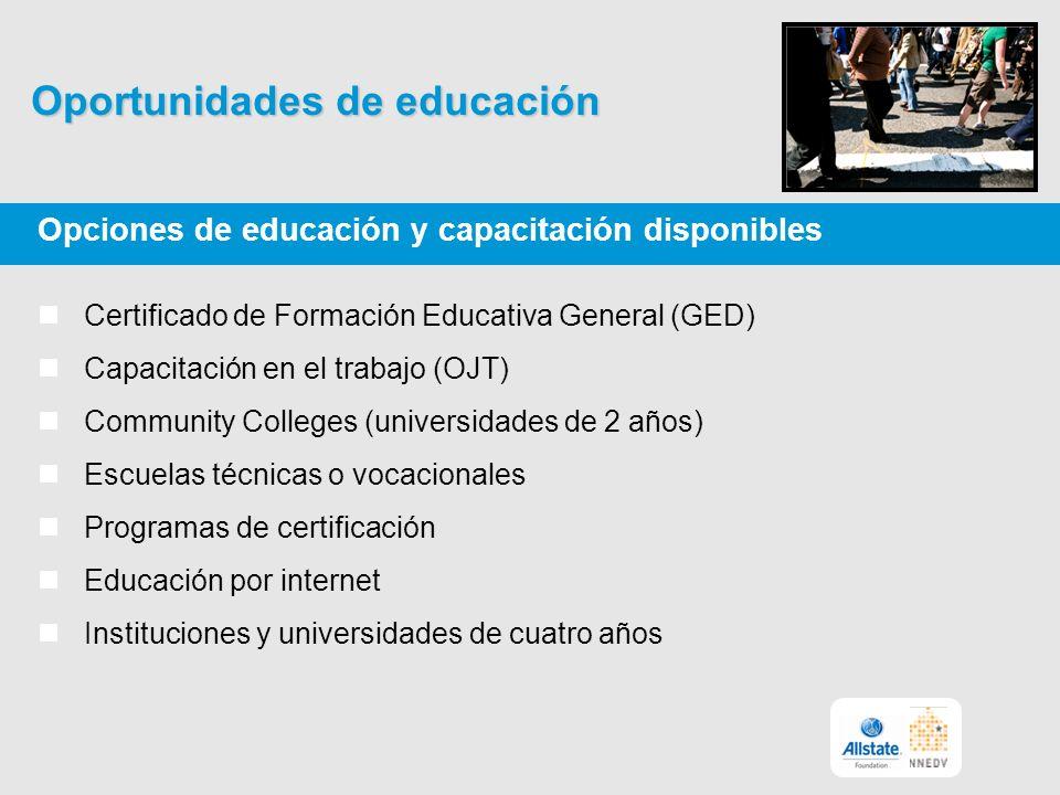 Oportunidades de educación Opciones de educación y capacitación disponibles Certificado de Formación Educativa General (GED) Capacitación en el trabajo (OJT) Community Colleges (universidades de 2 años) Escuelas técnicas o vocacionales Programas de certificación Educación por internet Instituciones y universidades de cuatro años
