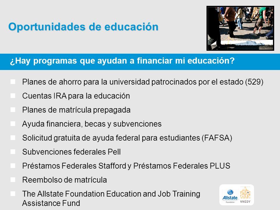 Oportunidades de educación ¿Hay programas que ayudan a financiar mi educación.