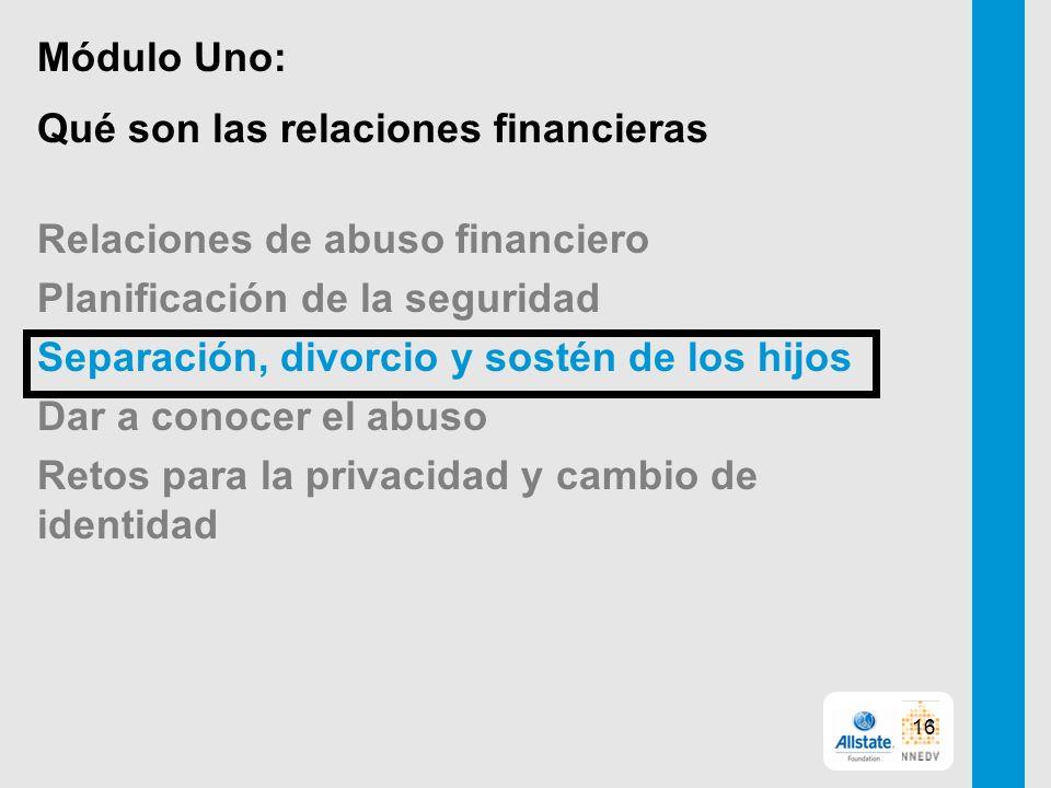 Módulo Uno: Qué son las relaciones financieras Relaciones de abuso financiero Planificación de la seguridad Separación, divorcio y sostén de los hijos Dar a conocer el abuso Retos para la privacidad y cambio de identidad 16