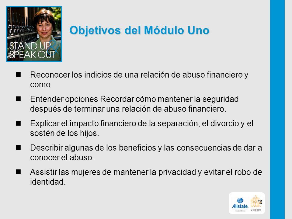 Objetivos del Módulo Uno Reconocer los indicios de una relación de abuso financiero y como Entender opciones Recordar cómo mantener la seguridad después de terminar una relación de abuso financiero.