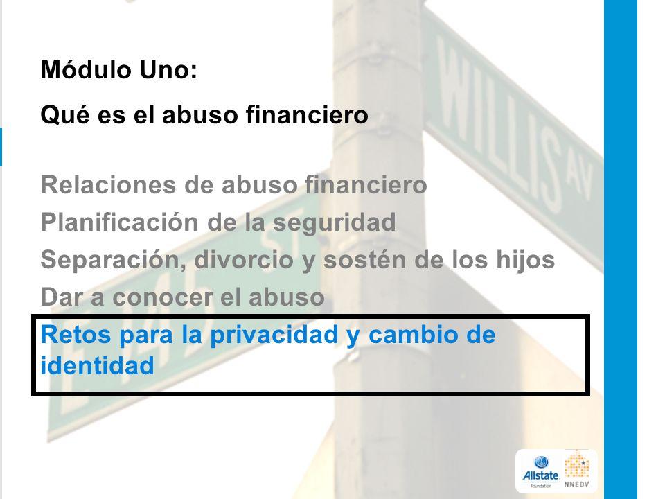 Módulo Uno: Qué es el abuso financiero Relaciones de abuso financiero Planificación de la seguridad Separación, divorcio y sostén de los hijos Dar a conocer el abuso Retos para la privacidad y cambio de identidad 5