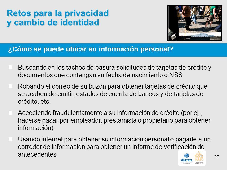 Retos para la privacidad y cambio de identidad ¿Cómo se puede ubicar su información personal.