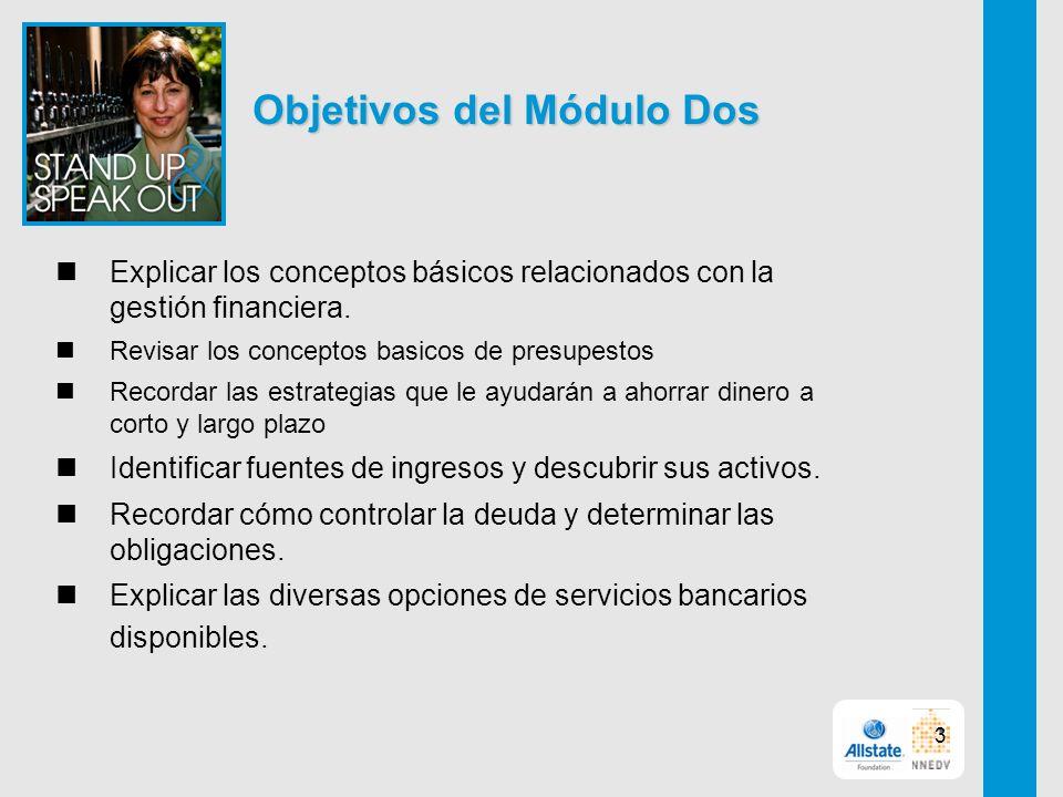 Objetivos del Módulo Dos Explicar los conceptos básicos relacionados con la gestión financiera.