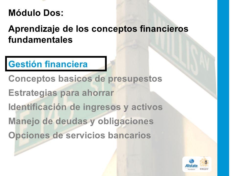 Módulo Dos: Aprendizaje de los conceptos financieros fundamentales Gestión financiera Conceptos basicos de presupestos Estrategias para ahorrar Identificación de ingresos y activos Manejo de deudas y obligaciones Opciones de servicios bancarios 5