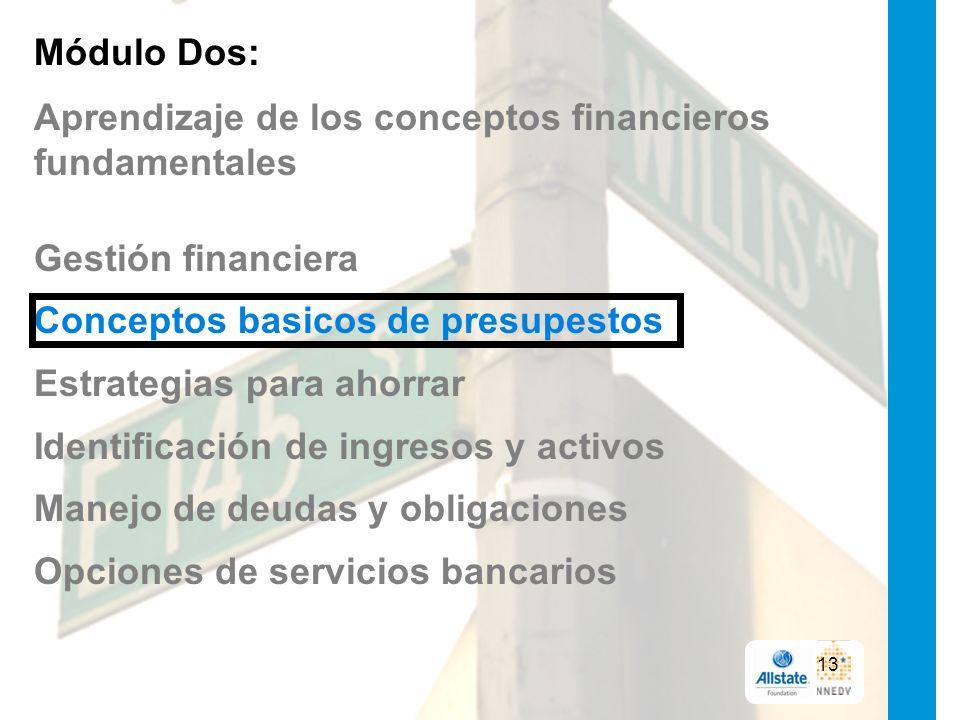 Módulo Dos: Aprendizaje de los conceptos financieros fundamentales Gestión financiera Conceptos basicos de presupestos Estrategias para ahorrar Identificación de ingresos y activos Manejo de deudas y obligaciones Opciones de servicios bancarios 13