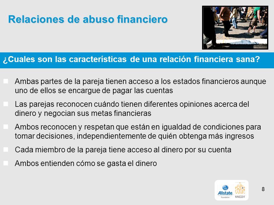 Relaciones de abuso financiero ¿Cuales son las características de una relación financiera sana.