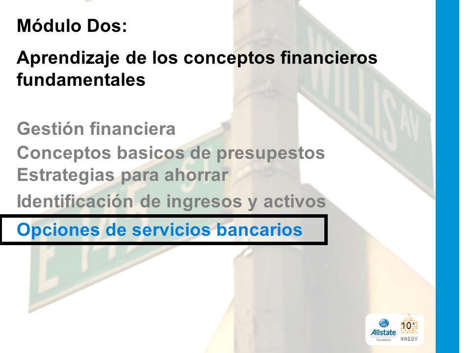 Módulo Dos: Aprendizaje de los conceptos financieros fundamentales Gestión financiera Conceptos basicos de presupestos Estrategias para ahorrar Identificación de ingresos y activos Opciones de servicios bancarios 10