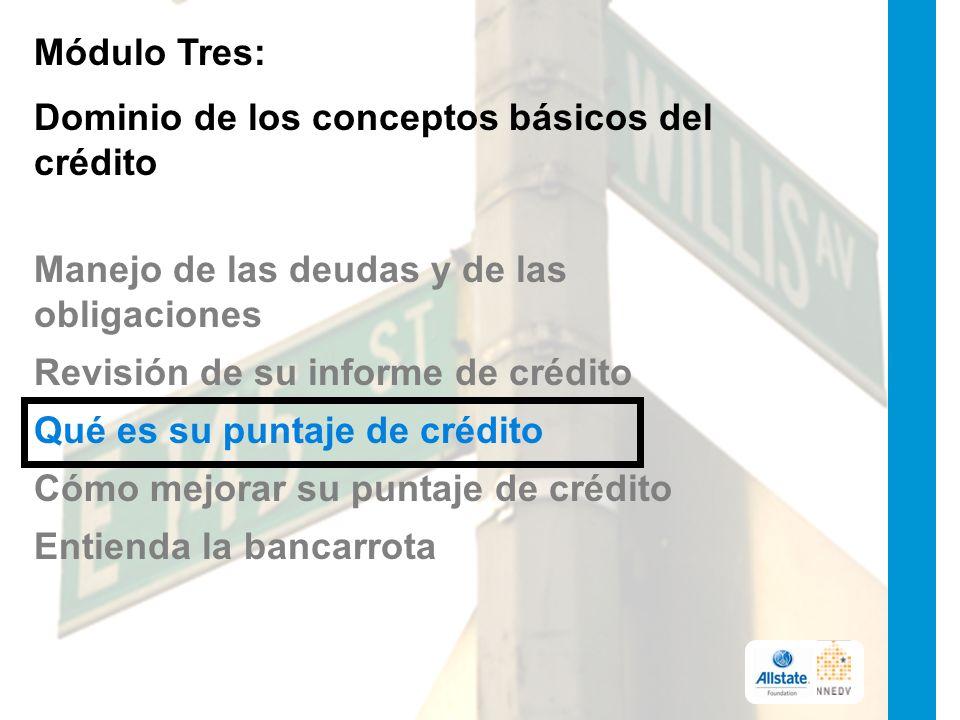 Módulo Tres: Dominio de los conceptos básicos del crédito Manejo de las deudas y de las obligaciones Revisión de su informe de crédito Qué es su puntaje de crédito Cómo mejorar su puntaje de crédito Entienda la bancarrota
