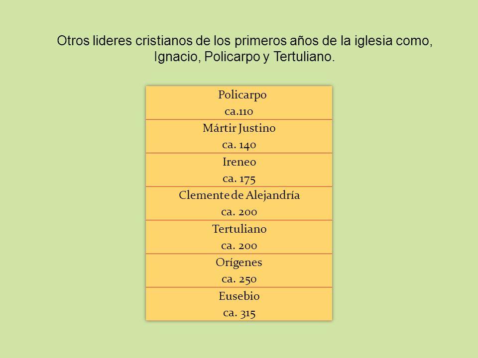 Otros lideres cristianos de los primeros años de la iglesia como, Ignacio, Policarpo y Tertuliano.