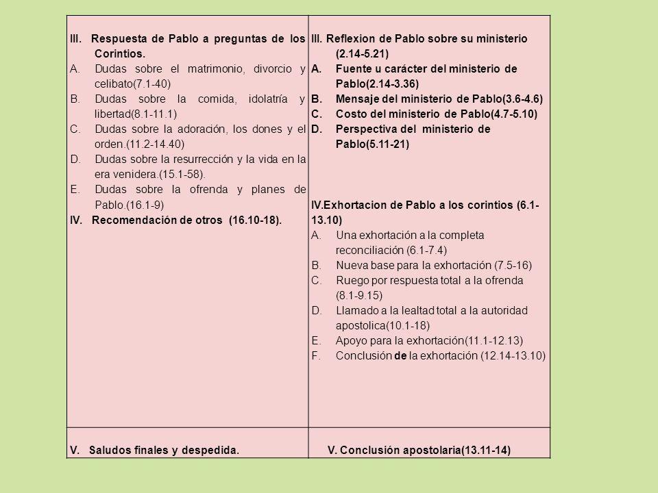 III. Respuesta de Pablo a preguntas de los Corintios. A.Dudas sobre el matrimonio, divorcio y celibato(7.1-40) B.Dudas sobre la comida, idolatría y li