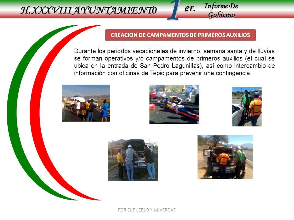 Informe De Gobierno Informe De Gobierno er.1 H.XXXVIII AYUNTAMIENT0 POR EL PUEBLO Y LA VERDAD APOYO EN ACCIDENTES AUTOMOVILISTICOS Se apoya a los paramédicos de la carretera no.
