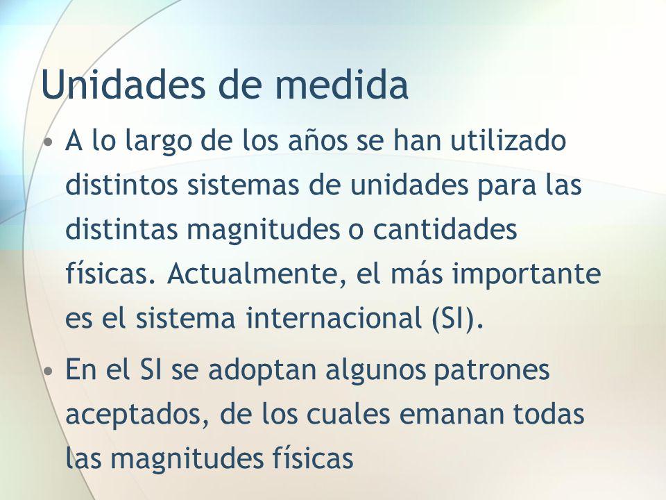 Unidades de medida A lo largo de los años se han utilizado distintos sistemas de unidades para las distintas magnitudes o cantidades físicas. Actualme